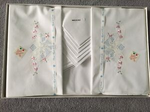 Box set of embroidered sheets,pillow cases London Ontario image 2