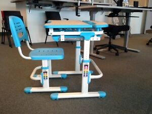 Height adjustable childrens desk and chair set