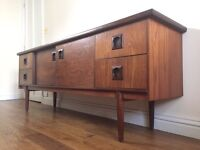 Danish teak and rosewood vintage mid-century retro sideboard