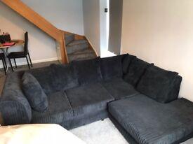 Black corner sofa settee cord corded