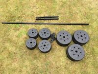 50Kg Barbell and Dumbell Set. Vinyl Weights. Excellent Condition