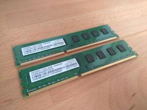 Deux barrettes de RAM DDR3 de 4GB (Total de 8GB)