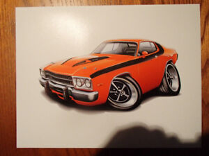 "1974 PLYMOUTH ROAD RUNNER ORANGE WALL ART PICTURE 11"" X 8.5"""