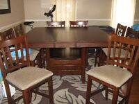 REDUCED-MINT PUB HEIGHT DINING ROOM TABLE INCLUDES 8 CHAIRS