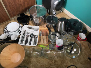 Electric Kettle, Plates, Cups, Pots, cutlery+steak knifes n more