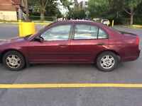 Honda civic 2002 à vendre (négociable)