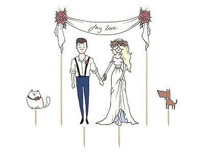 """Tortenstecker Tortenfigur Cake Topper Hochzeit Trauung Brautpaar """"My Love"""""""