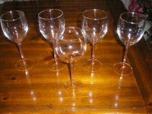 5   -  8 inch Wine Glasses with Pink Stems  made in  France