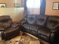 Real Leather Couch & Recliner Set