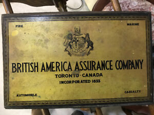 VINTAGE BRITISH AMERICA ASSURANCE COMPANY TIN ADVERTISING SIGN