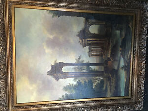 Huge oil painting with unique frame