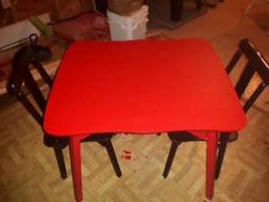 Childs red and black table set table top is a chalkboard.