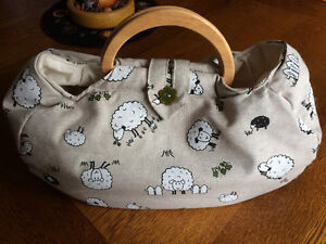 Handcrafted Wooden Handled Fabric Knitting/Project Bag