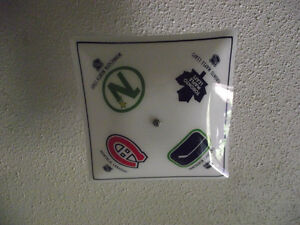 Vintage NHL Glass Ceiling Light Shade TML, Habs, Canucks, NS