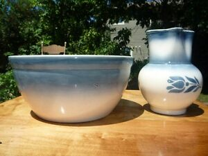 ANTIQUE BLUE AND WHITE MATCHING WASH BOWL AND PICHER