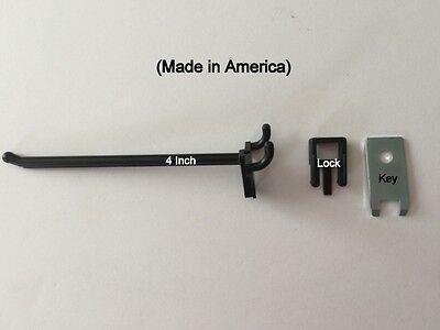 500 Pack 4 Inch Locking Black Plastic Pegboard Peg Hooks 500 Locks 20 Keys