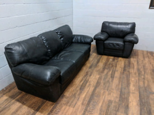 (Free Delivery) - Black leather couch and armchair