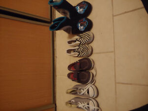 4 piece lot of toddler size 10 shoes and pair of slippers.
