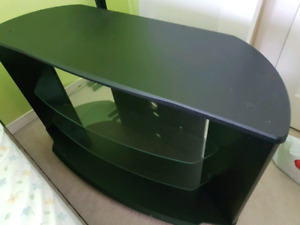 Glass shelve TV stand with caster wheels