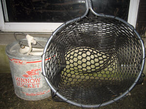 Vintage Minnow bucket and net