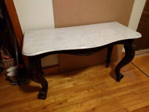 Carrera marble topped side table, antique