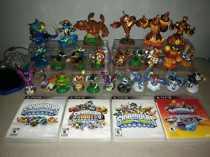 4 Skylanders PS3 Games with 26 figures FREE shipping