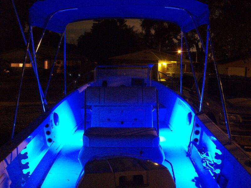blue 4pc led kit for boat marine deck interior lighting. Black Bedroom Furniture Sets. Home Design Ideas