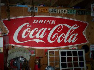 Large 1950's Coca - Cola Metal Sign.
