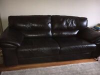Allders 2/3 seater brown leather sofa
