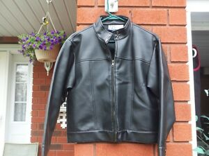 Female Youth Zip Up Black Leather Jacket