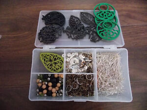 assorted jewelry supplies and organizer box included