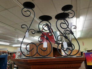 Vintage Wrought Iron Candle Holders (2 sets, 1 Lg, 1 Med)