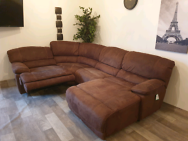 Harveys stitched genuine suede leather recliner corner sofa