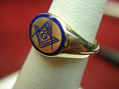 VINTAGE 10K YELLOW GOLD MASONIC RING W/ BLUE ENAMELING - NICE
