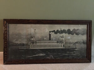 orig framed antique print of Burrard Inlet ferry pre-Lion's Gate