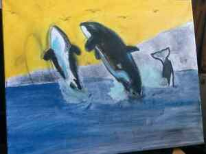 Killer whale oil painting.
