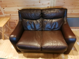 2 seater brown leather settee