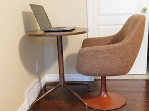 Vintage Retro Desk and Chair with Round Metal Base