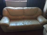 Cream Leather sofas 2 & 3 seaters