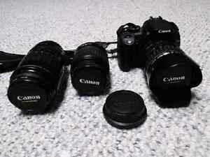Canon Rebel XT DSLR camera with 3 lenses and Slingbag