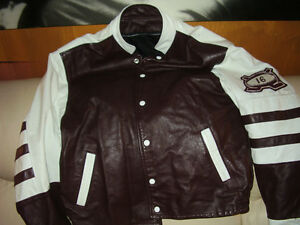 Barons Hockey Varsity Leather Jacket Rare New