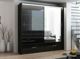SUPREME QUALITY FURNITURES! NEW HIGH GLOSS MARSYLIA 2 DOOR SLIDING WARDROBE WITH FULL MIRROR + LED