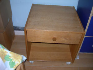 Low  table with a drawer and 4 wheels, 50x50x50cm,$29.99