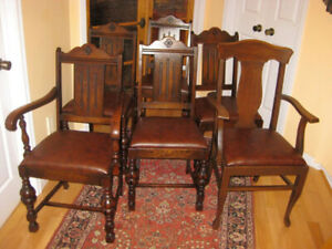 Classic Refurbished Antique Colonial Revival Oak Dining Chairs