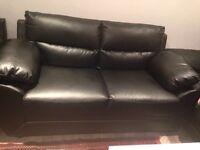 Brand new Black leather 2 seater sofa