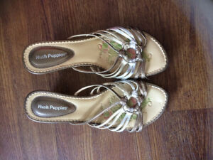 Hush puppies silver, gold and grey open toe sandals.