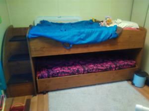 Twin loft trundle bed