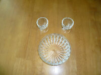 2 Old  Glass  Egg  Cups and Fancy Glass  Candy Dish