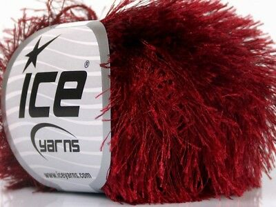 Carmine Eyelash Yarn #50643 Ice Burgundy Fun Fur 50 Gram -