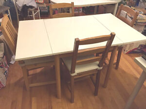 Ikea bed + Dining Table Set with 4 Chairs + Bedroom Lamps